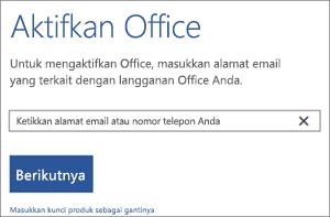 Memperlihatkan kotak dialog Aktifkan tempat Anda dapat masuk untuk mengaktifkan Office