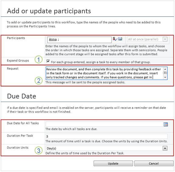 Mengubah formulir untuk tugas yang akan datang