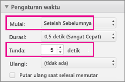 Tampilkan daftar berpoin secara otomatis dengan dengan menyetel waktu menjadi Setelah sebelumnya dan menentukan penundaan