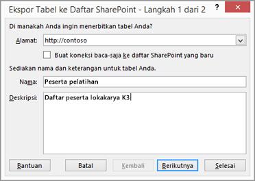 kotak dialog panduan ekspor ke sharepoint