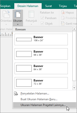 Cuplikan layar opsi Ukuran Halaman Preset Lainnya di tab Desain Halaman di Publisher.