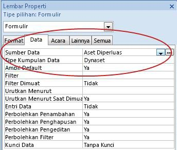 Properti Sumber Rekaman pada tab Data.