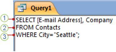 Tab objek SQL yang memperlihatkan pernyataan SELECT