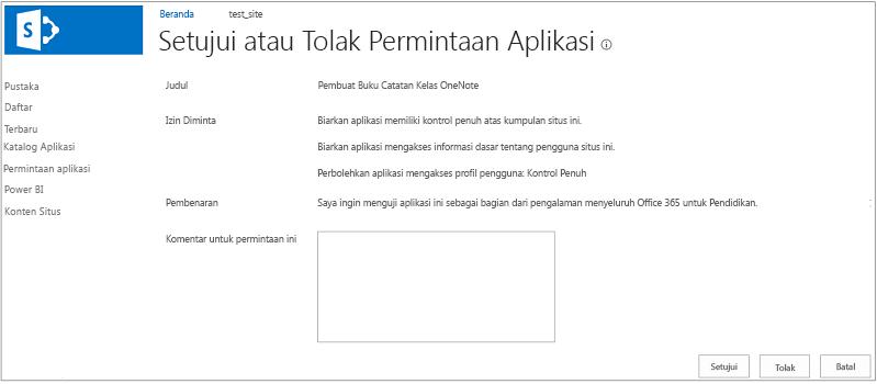 Cuplikan layar memperlihatkan kotak dialog Setujui atau Tolak Permintaan Aplikasi