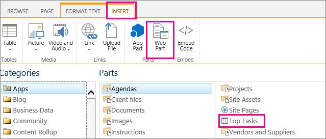 Cuplikan layar cara menyisipkan komponen web Tugas Utama