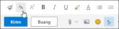 Cuplikan layar opsi Ukuran font pada toolbar pemformatan.
