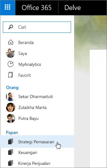 Cuplikan layar daftar Papan di panel kiri Delve.