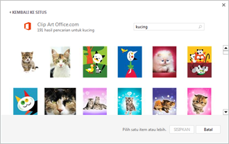 Contoh gambar kucing di situs Clip Art