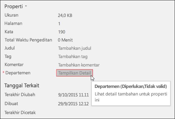 Tombol Perlihatkan Detail di area Properti pada tab Info