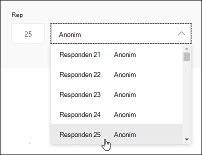 Masukkan nomor tertentu dalam kotak pencarian responden untuk melihat detail respons individu tersebut dalam Microsoft Forms