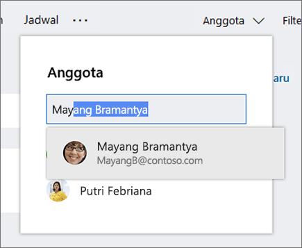 Cuplikan layar daftar Anggota saat memasukkan nama anggota rencana baru.