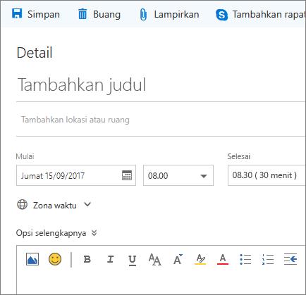 Cuplikan layar baru panel acara kalender