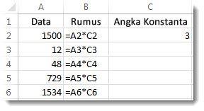 Data di dalam kolom A, rumus di dalam kolom B, dan angka 3 di sel C2