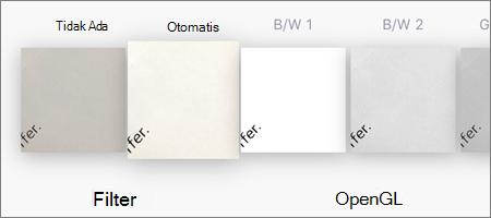 Opsi filter untuk pemindaian gambar di OneDrive untuk iOS