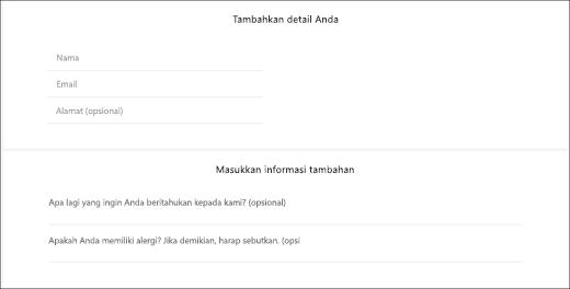 Cuplikan layar: memperlihatkan apa yang terlihat seperti pertanyaan kustom untuk pelanggan.