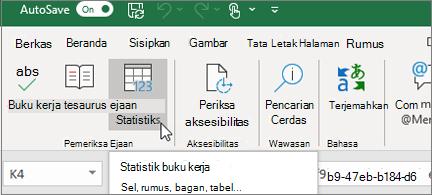 Tombol statistik buku kerja