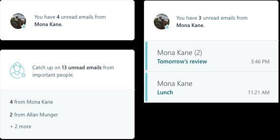 Cuplikan layar MyAnalytics email aktivitas