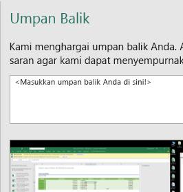 Umpan Balik dalam kotak dialog Excel