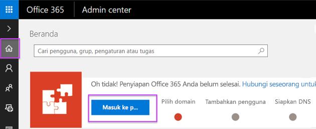 Penyiapan pusat admin Office 365