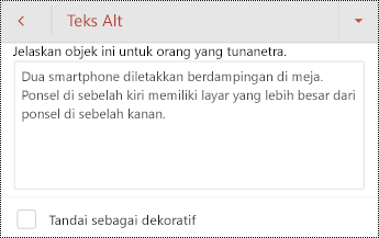 Dialog teks Alt untuk gambar di PowerPoint untuk Android.