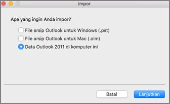 Mengimpor layar dengan data Outlook 2011 di komputer ini dipilih