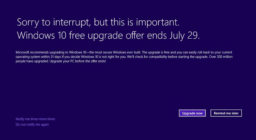 Penawaran peningkatan Windows 10 gratis berakhir 29 Juli.
