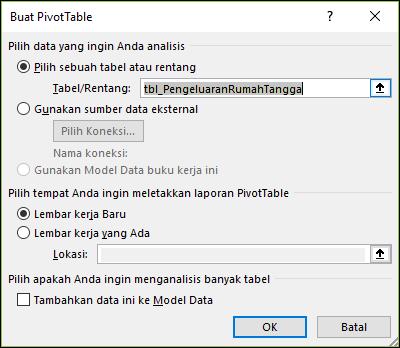 Opsi Sisipkan > PivotChart di Excel