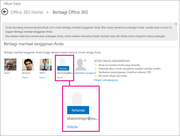 Screen shot of the Share Office 365 page with a pending shared subscription user selected.