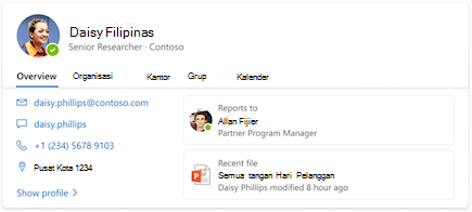 Cuplikan layar kartu yang memperlihatkan informasi tentang seseorang