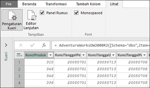 Power Query - Font monospace untuk Pratinjau Editor Kueri