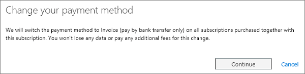 Mengubah pesan metode pembayaran Anda.