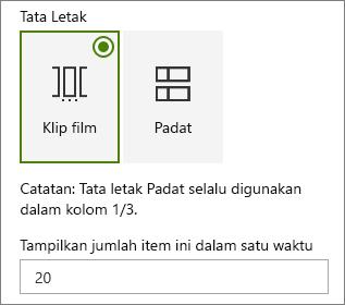 Pemilihan tata letak acara dalam web panel properti komponen.