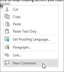 Pilih komentar baru pada menu konteks