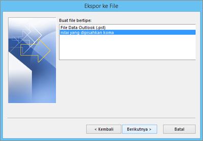 Panduan Ekspor Outlook - Pilih file CSV