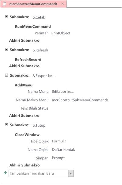 Cuplikan layar makro Access dengan empat submakro