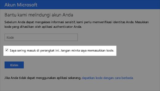 Cuplikan layar dialog perangkat tepercaya