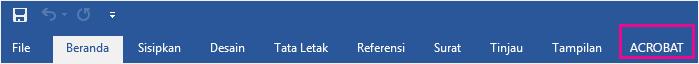 Acrobat tab akan muncul di akhir baris tab.