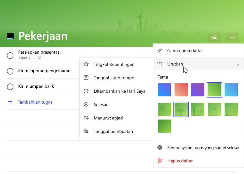 Cuplikan layar memperlihatkan menu Urutkan diperluas dengan opsi berikut ini: penting, jatuh tempo tanggal, ditambahkan ke My Day, selesai, menurut abjad, tanggal pembuatan