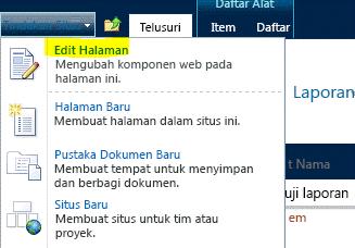 Perintah Edit Halaman pada menu Tindakan Situs
