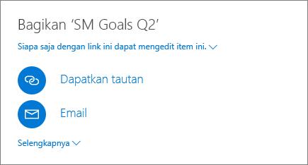 Cuplikan layar memperlihatkan cara berbagi file di OneDrive