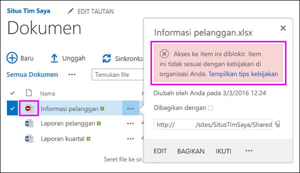 Memperlihatkan Tips kebijakan memblokir akses ke dokumen
