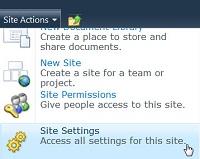 Menu Situs Pengaturan Situs