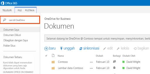 Cuplikan layar Kotak Kueri One Drive di Office 365.