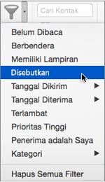 Gunakan Disebut pada menu Filter Email untuk mencari email yang @menyebut Anda