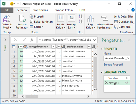 Panel editor Power query