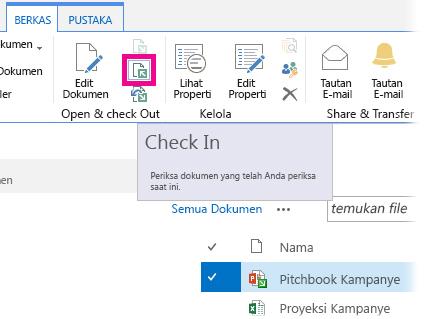 Melakukan Check in file
