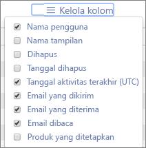 Laporan Office 365 - mengelola kolom untuk laporan aktivitas email