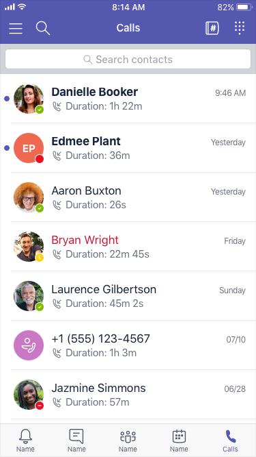 Riwayat panggilan, tombol angka, dan kontak