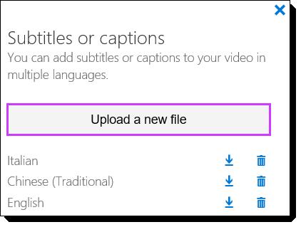 Daftar subjudul Video Office 365
