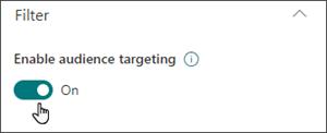 Gambar panel edit dengan tombol untuk mengaktifkan penargetan audiens dalam posisi aktif